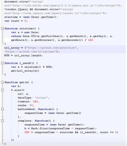 Sample of the malicious JavaScript code
