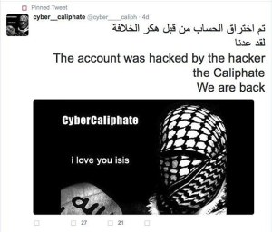 Cyber Caliphate screen shots Twitter hack story ***INTERNET IMAGE SUPPLIED VIA IAN GALLAGHER***