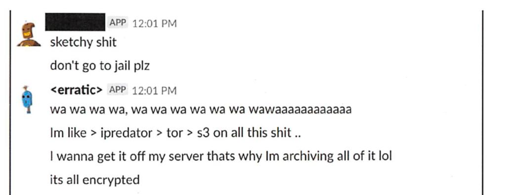Screenshot of slack chat