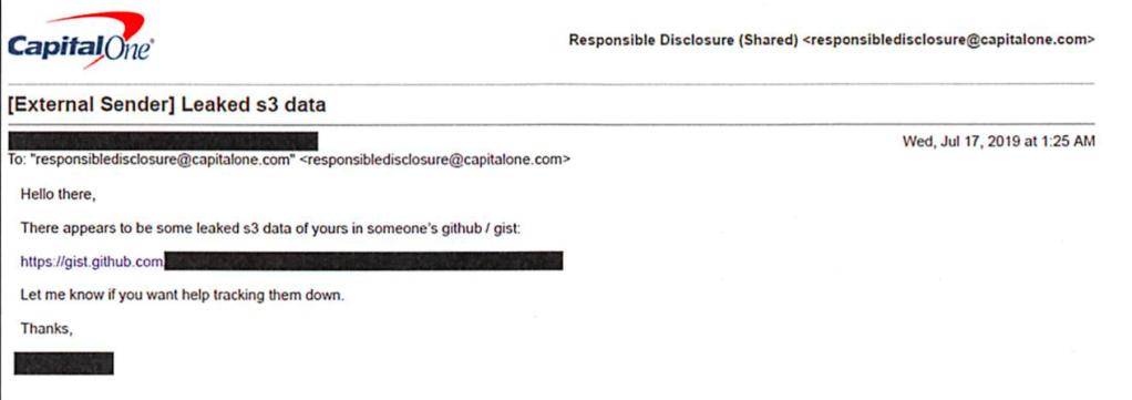 Screenshot of responsible disclosure email